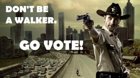 """Nebūk zombis. EIK BALSUOTI!"" - beveik tiksli Rick'o iš Walking Dead citata."